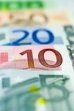 10 euroeuros line up Arkivfoton