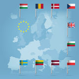 10 european union countries over european map Royalty Free Stock Photography