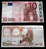 10 euros. Pista y el revés Imagen de archivo