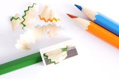 10 färgblyertspennor Arkivbilder