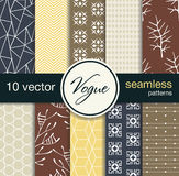 10 Fashionable Seamless Vector Patterns. Blanks For Postcards, Prints Fabric, Background For Web. Subject Fashion. Stock Photography