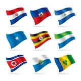 10 flaggor ställde in världen Arkivfoto