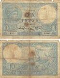 10 francos de Note1! 939 Fotografia de Stock