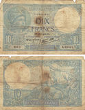 10 Francs Note1! 939 Arkivbild
