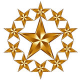 10 golden stars composition. Royalty Free Stock Photography