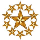 10 golden stars composition. Emblem or logo royalty free illustration