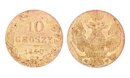 10 groszy старая Польша монетки Стоковые Изображения