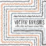 10 Hand Drawn Decorative Seamless Pattern Brushes Stock Photos