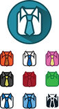 10 Icon Variables, Shirt And Tie Illustration, Vector Stock Photo