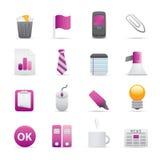 10 icone viola dell'ufficio Immagine Stock Libera da Diritti