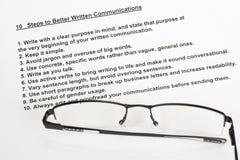 10 Jobstepps zu den besseren schriftlichen Mitteilungen Stockbilder