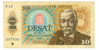 10 koruna bill of Czechoslovakia, 1986. 10 koruna bill of Czechoslovakia, cyan, dun, hazel colours Stock Images