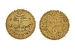10 libanesisches piastres monet. Stockfotos