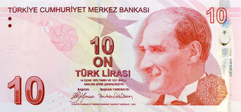 10-Lira-Banknotenfront Lizenzfreies Stockfoto