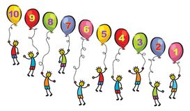 10 little men with balloons Royalty Free Stock Images