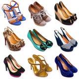 10 mångfärgade skor för kvinnlig Arkivbild