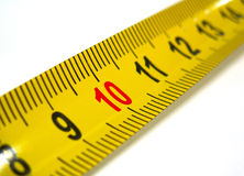10 mark on measuring tape. Highlighted ten mark on measuring tape Stock Photo
