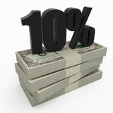10% money. Stack of money with 10 percent Stock Images