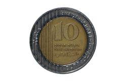 10 mynt vita isolerade israeliska siklar Arkivfoto