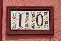 10 nummer målade tegelplattor Royaltyfria Bilder