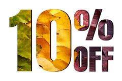 Free 10 Off Discount Promotion Sale Poster, Ads. Autumn Sale Banner With Green, Yellow And Red Leaves On White Background. Stock Images - 156699634