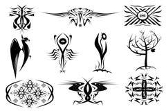 10 ornements décoratifs des tatouages. Placez dans le noir Photographie stock libre de droits