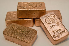 10 Ounce Pure Copper Bullion Bars Stock Photo