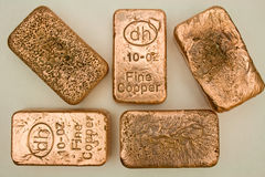 10 Ounce Pure Copper Bullion Bars Stock Image