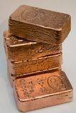 10 Ounce Pure Copper Bullion Bars Stock Photography