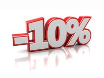 10 percent. 3d of ten percent  on a white background Stock Photos