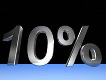 10 percent. 3d rendered numeric and percentage with space bacground Royalty Free Stock Photos