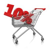 10 percent in cart. Red  ten percent placed in shop cart  isolated on a white background Royalty Free Stock Photography