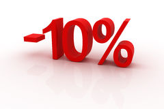 10 percent discount. Red sign showing a 10 percent discount stock illustration