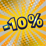 -10 percent discount. Yellow sign showing a -10 percent discount Royalty Free Stock Photos