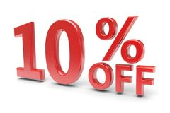 10 percent discount. 10 percent sale discount. 3d image Royalty Free Stock Photos