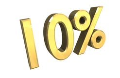 10 percent in gold (3D). 10 percent in gold (3D made Royalty Free Stock Photo