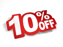 10 percent off discount. Bend the text into sticker look Royalty Free Stock Photos