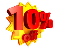 10 percent price off discount. Sign for 10 per cent off in red ciphers at a yellow star on a white background Stock Images