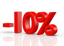 10 Percent red. The three-dimensional text 10 Percent, red vector illustration