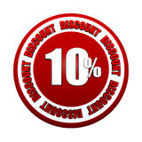 10 percentages discount 3d red circle label. 10 percentages discount - 3d red white circle label with text, business concept Royalty Free Stock Images