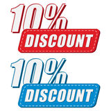 10 percentages discount in two colors labels, flat design Royalty Free Stock Photos