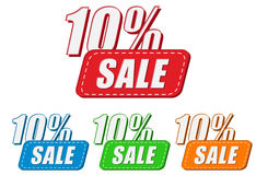 10 percentages sale, four colors labels Stock Image