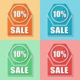 10 percentages sale, four colors web icons Stock Images