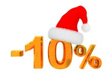 10 persent discount. 3d illustration of 10 percent discount christmas Stock Image