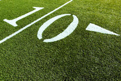 10 polowych jardów w piłce nożnej Obrazy Royalty Free