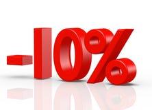10 por cento de vermelho Fotos de Stock
