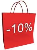 10 por cento fora do saco de compra Imagens de Stock Royalty Free