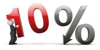 10 procent för man för affär 3d tecken vektor illustrationer