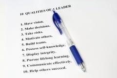 10 Qualitäten eines Führers Lizenzfreie Stockfotos