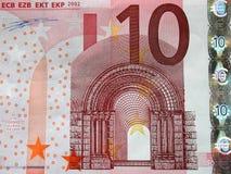 10 rachunku szczegółów zamkniętych euro, zdjęcie stock